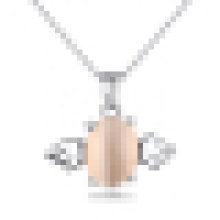 Women′s 925 Sterling Silver Moonlight Stone Opal Angel Pendant Necklace with Chain