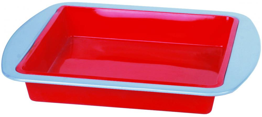 Silicone square cake pan with carbon steel range