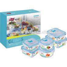 Conjunto de 6 recipiente de alimento de vácuo de vidro