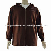 Men's zip hoodies with ribbed cuff and embroidery logo, comfortable fabric
