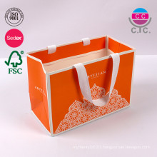 high quality luxury orange paper shopping bag with handle