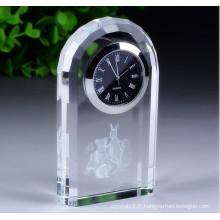 Horloge en cristal de décoration de cadeau d'affaires de logo personnalisé