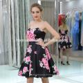 mode modèle impression numérique sans manches femmes robe sans bretelles large ourlet conception dame robe
