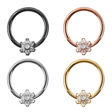 G23 Titanium Nose Piercing Flower Gem Hinged Septum Ring