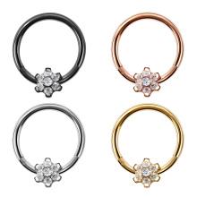 G23 Titanium nariz piercing flor gem articulada septo anel