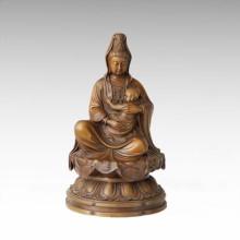 Mythe Bronze Sculpture Avalokitesvara Décoration en laiton Statue Bouddha Tpfx-B143 (J)