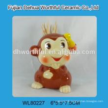 Lovely monkey shaped ceramic toothpick holder for wholesale