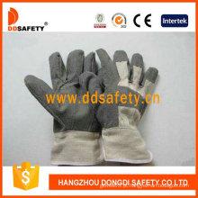 Luvas de PVC cinza com costas de algodão branco (DGP106)