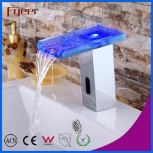 Fyeer Glass Spout Waterfall Automatic Sensor Faucet with LED Light