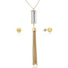 Stainless Steel Clear Retrangle Tassel Jewelry Set With Chain