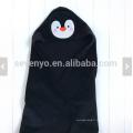 Serviette bébé avec capuche visage animal pinguin cadeau personnalisé jusqu'à 1 an