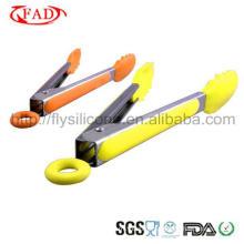 Pinças de silicone ferramentas de cozinha de aço inoxidável para mini tongs de alimentos