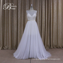 New Arrival Sleeveless with Champagne Stain Belt Wedding Dress