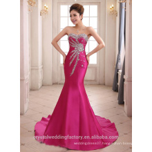 Alibaba Elegant Long New Designer rose Red Color Chiffon Mermaid Evening Dresses Or Bridesmaid Dress With Heavy Bead LE28