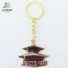 Porte-clés en métal de porte-clés d'or de moulage d'alliage de zinc de 80mm pour des articles promotionnels