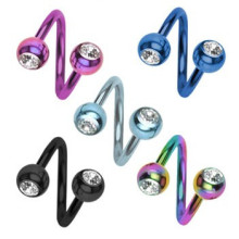 Titanium Anodized Twister Barbell with Gem Balls