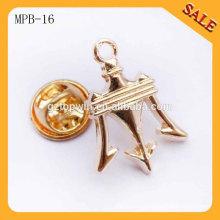 MPB16 China factory new product custom metal tie hat cap lapel pin badge