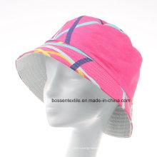 Promocional personalizado de color rosa impreso algodón lindo Sunhat Bucket Hat Cap