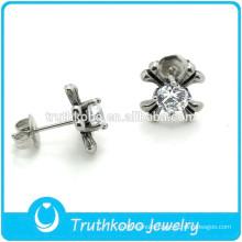 TKB-E0071 Wholesale Silver Jewelry Beautiful Cubic Zirconia White Stone Earrings