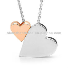 Valentines Day 2 hearts Necklace silver King of HEARTS and 9ct Rose Gold BABY HEART Necklace