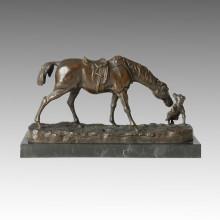 Tier Bronze Skulptur Pferd Welpen Deko Messing Statue Tpal-147