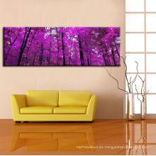Árboles púrpuras Lámina en lienzo de algodón Gráfico