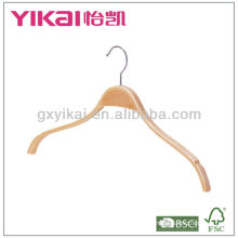 Laminated wooden skirt hanger with rubber teeth on shoulder