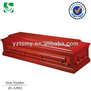 Mango de madera de laca roja americana clásica guarnición del ataúd