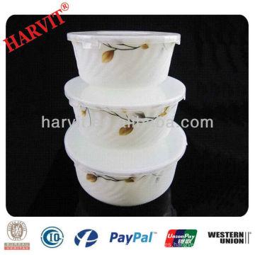 Plain White Opal Ware Ensalada de Cereal Pasta Soup Bowls con tapa de PP / en relieve Opal Glass 5.5 '' 6.5 '' 7.5 '' Bowl Set para 3PC