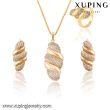 63824-Xuping chaud plaqué or bijoux artificiels 3 pièces ensembles pour la partie