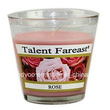 Vela de Frasco de Rosa Perfumado de Soja