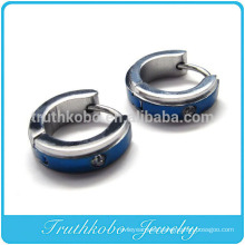 TKB-E0056 Men's Stainless Steel Stud Hoop huggie Earrings Silver Blue Striped Unique Polished