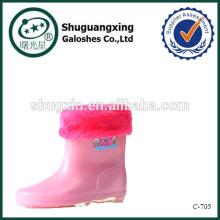 Bota de chuva morna para chuva rosa filhos bonitos de crianças botas C-705