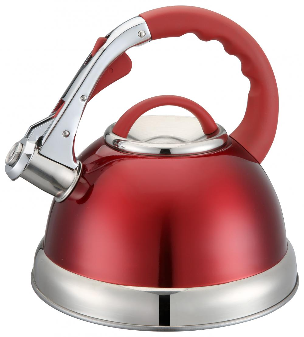 Red Groove Handle Whistling Kettle