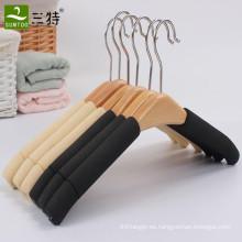 Colgador de madera de esponja antideslizante de alta calidad