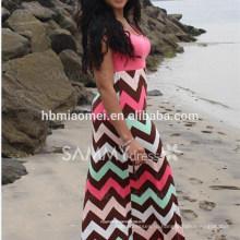 Летняя Мода Женщин Красочные Волнистые Полосатый Платье Плюс Размер Напечатано Макси Платье Женщина