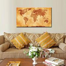 Decoración de madera de la pared del mapa del mundo de la vendimia