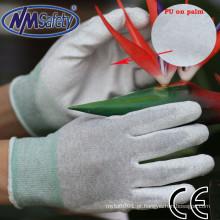 NMSAFETY esd palm resistente ao calor ajuste luva pu