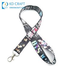 Free Sample No Minimum Order Custom Heat Transfer Printing Persona ID Neck Strap Keychain K-Pop Army Bts Lanyard for Sale