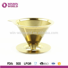Novo Produto 2016 Amazon Venda Quente Titanium Coated Ouro Inteligente Filtro De Café / Dripper