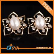 2015 Fashion Accessories Jewellery Imitation Pearl Flower Gold Earring Stud