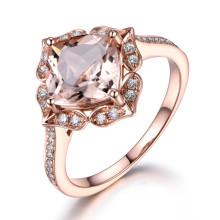 8mm Cushion Cut Morganite and Diamond Engagement Ring 14k Rose gold Milgrain Floral Art Deco Stacking Band