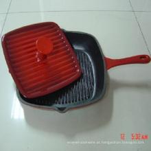 Frigideira em ferro fundido revestido com esmalte quadrado / grelha panela / frigideira com prensa