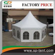 Tente de camping 4 x 8 m en plein air en forme hexagonale