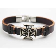 La mejor pulsera de cuero diseñada de la amistad de la cruz del encanto del pun ¢ o para la venta