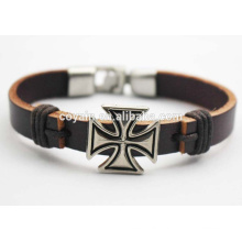 Best Designed Leather Cuff Charm Cross Friendship Bracelet for sale