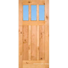 China Exterior Oak Solid Wood Entry Door with Glass Panel