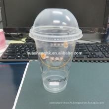 Tasse jetable en plastique claire claire du plastique 12oz de vente chaude avec le couvercle en plastique