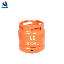 Garrafa de aço do lpg 6kg pequeno para África do Sul, tanque de gás reenchido usado