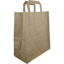 Printed Paper Bag with Flat Handle for Packing- Bk